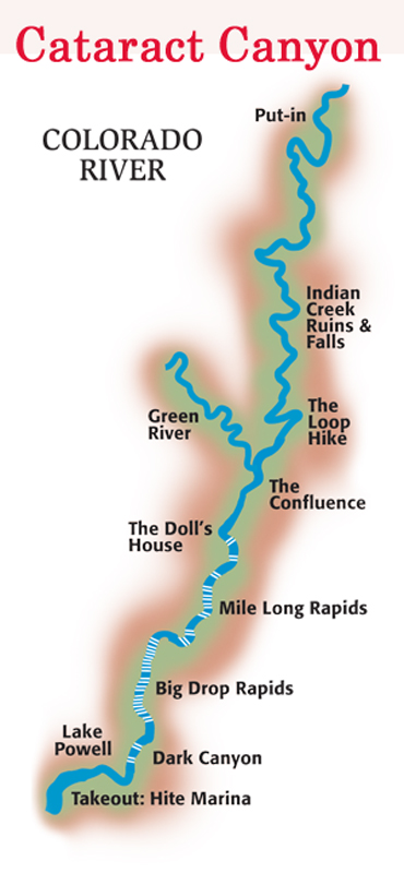 Map of Cataract Canyon on the Colorado River